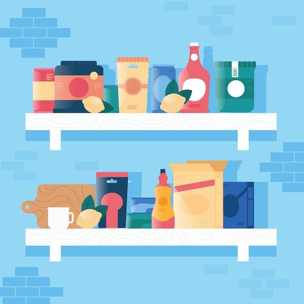 Flat pantry collectie illustratie Gratis Vector