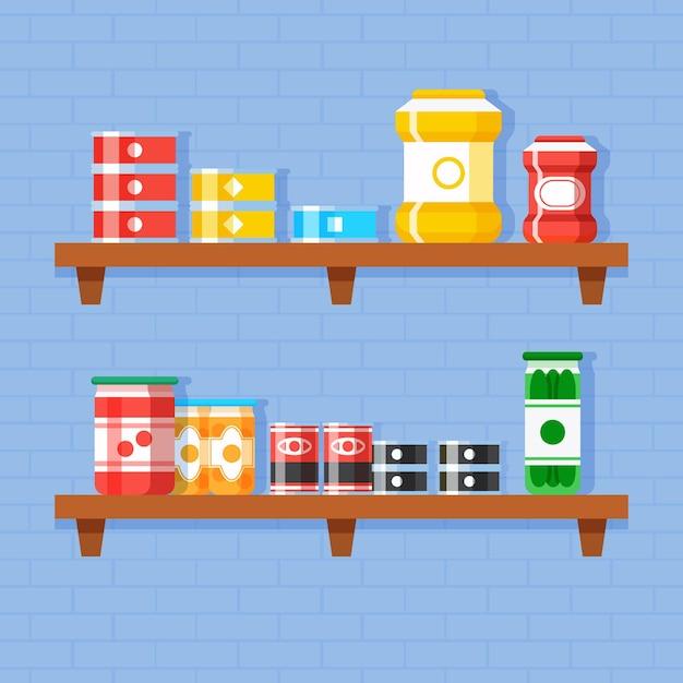 Flat pantry illustratie Gratis Vector