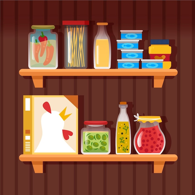 Flat pantry illustratie Gratis Vector