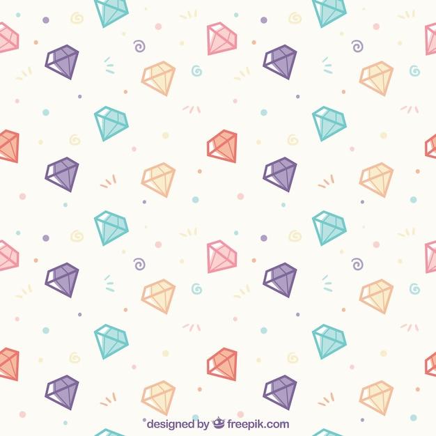 Flat patroon met gekleurde diamanten Gratis Vector
