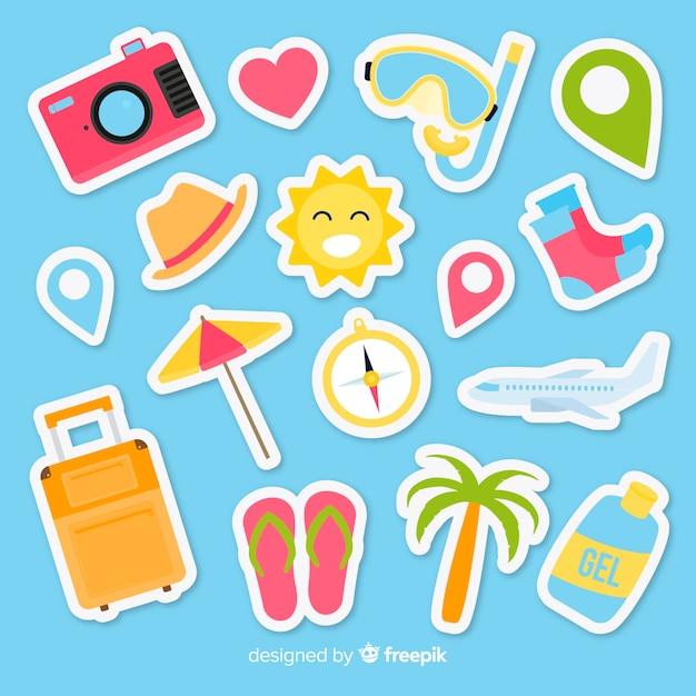 Flat reizen stickers collectie Gratis Vector