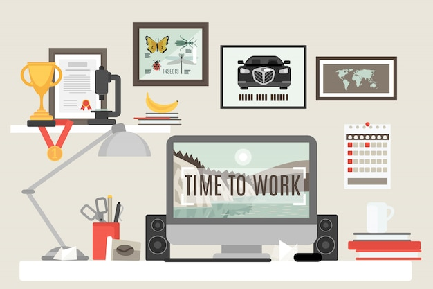 Flat room workspace Gratis Vector