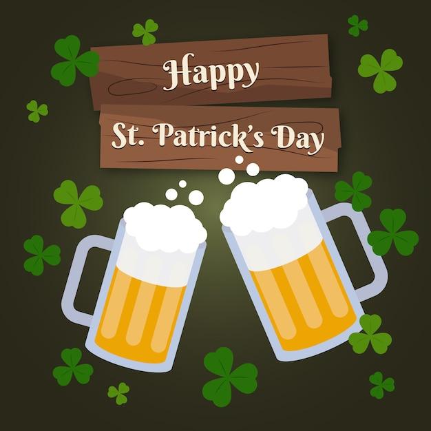 Flat st. patrick's day roosteren bier Gratis Vector