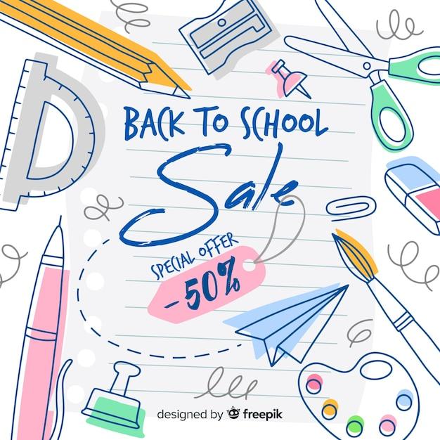 Flat terug naar school verkoop achtergrond Gratis Vector