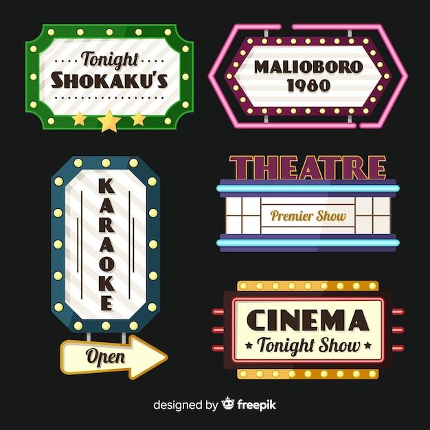 Flat theater vintage teken collectie Gratis Vector