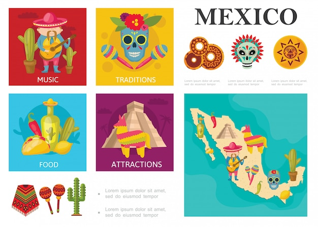 Flat travel to mexico-concept met mexicaanse traditionele gerechten, beroemde bezienswaardigheden, muziek en cultuurtradities Gratis Vector