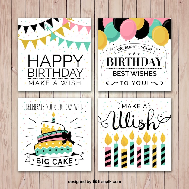 Flat verjaardagskaart inzameling Gratis Vector