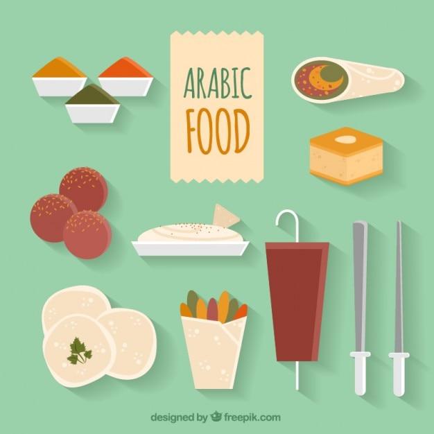 Flat verscheidenheid arabische voedsel menu's Gratis Vector