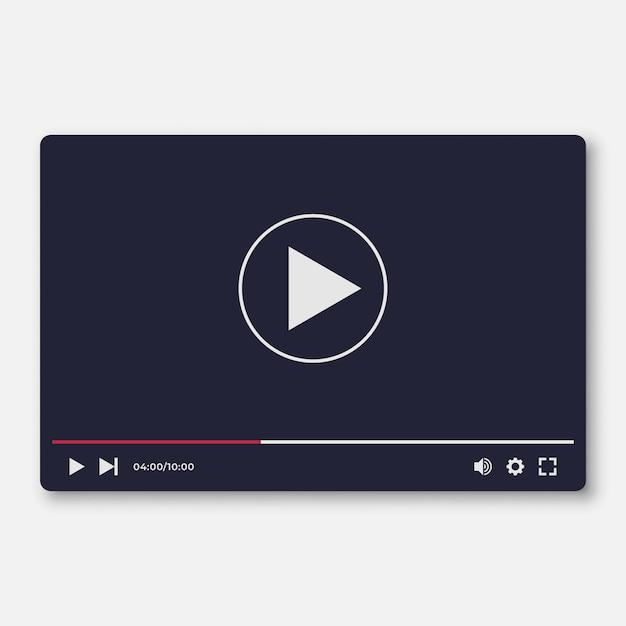 Flat video player interface template voor we en moile apps Premium Vector