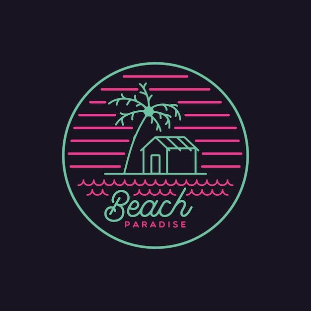 Flat vintage beach paradise-logo Premium Vector