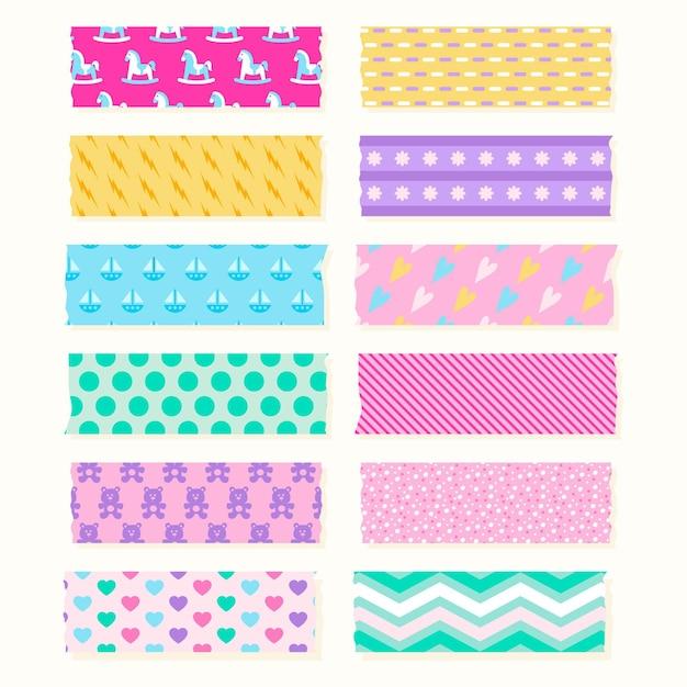 Flat washi tape-collectie Gratis Vector