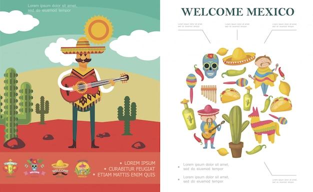Flat welcome to mexico compositie met man gitaarspelen in woestijn suiker schedel cactus pinata maracas chili peper tequila fles taco Gratis Vector