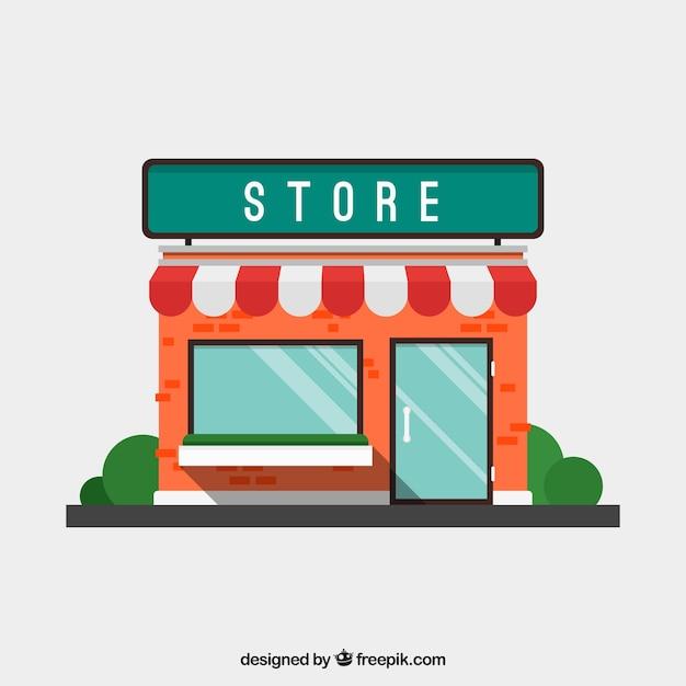 Flat winkel gevel met voortent Gratis Vector
