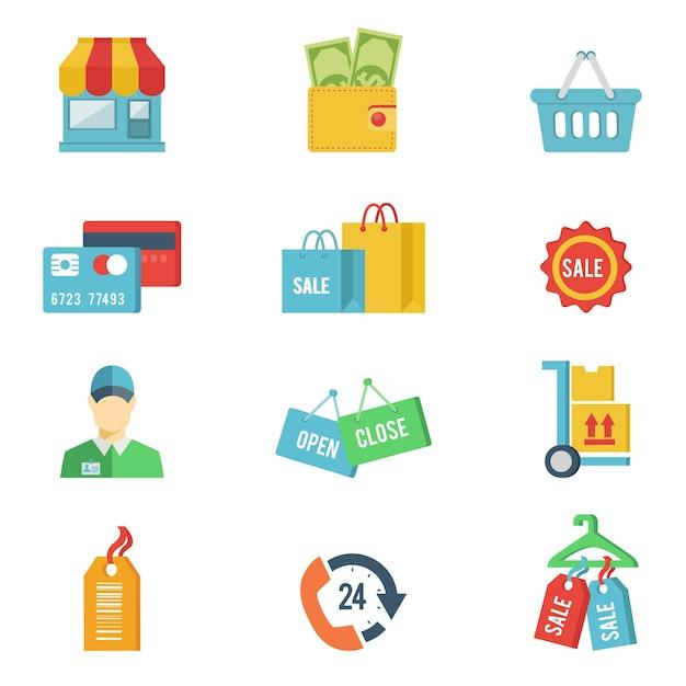 Flat winkelen pictogrammen Gratis Vector