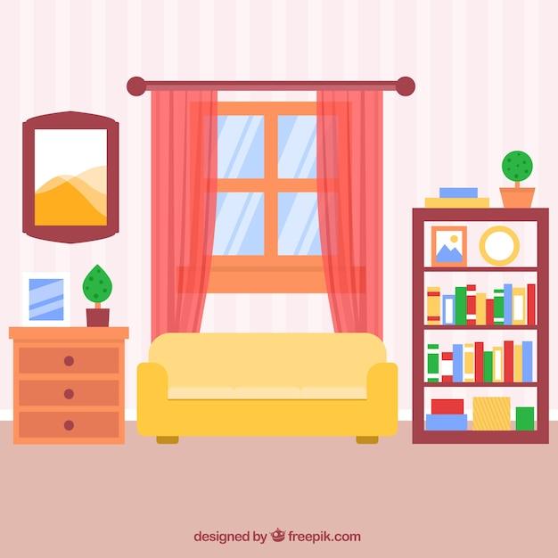 Flat woonkamer met gestreepte muur en roze gordijnen Vector | Gratis ...