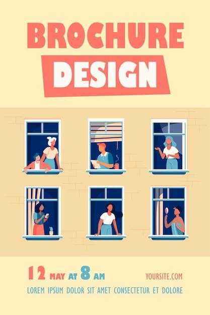 Flatgebouw met mensen in open raamruimten sjabloon folder Gratis Vector