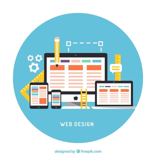 Flatscreens met web-elementen Gratis Vector