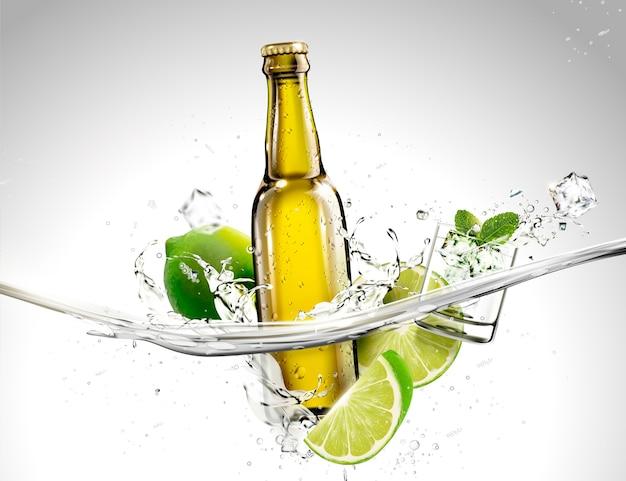 Fles drank met limoen en pepermuntjes die in transparante vloeistof stromen Premium Vector