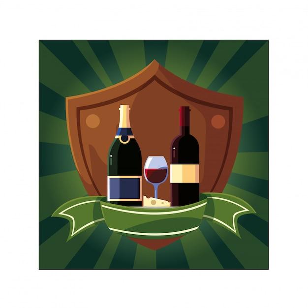 Fles en glas wijn in schild met lint Premium Vector