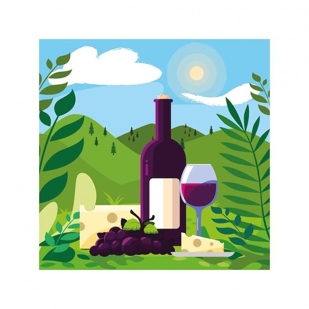 Fles en glas wijn met stuk kaas en druiven Premium Vector
