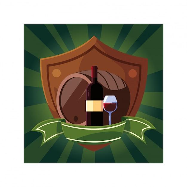 Fles en glas wijn met vat in schild met lint Premium Vector