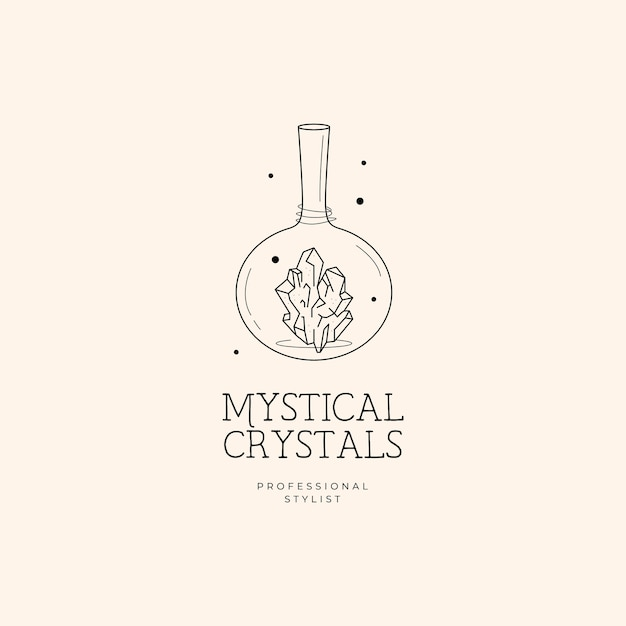 Fles en kristallogo Premium Vector