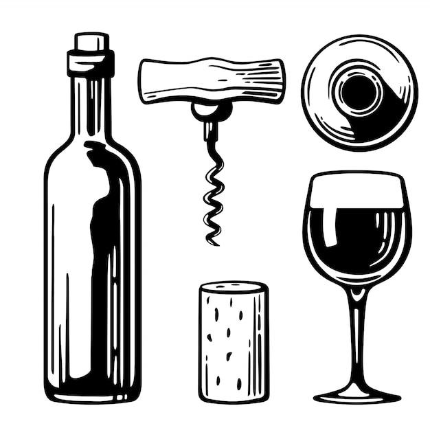 Fles, glas, kurkentrekker, kurk gravure illustratie Premium Vector