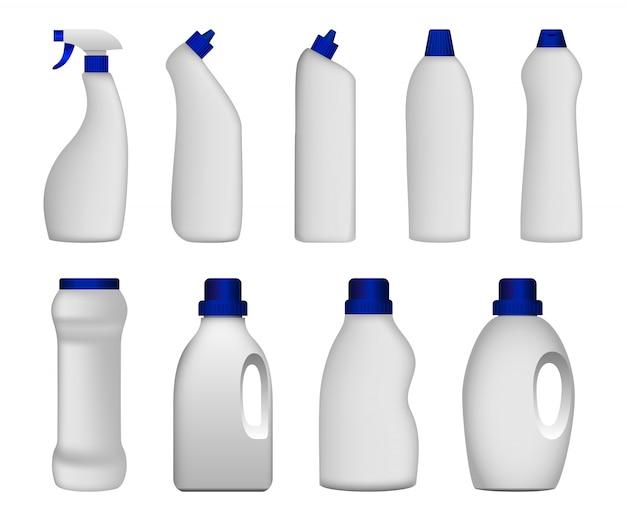Fles schoon mockup-setje voor wasmiddel Premium Vector