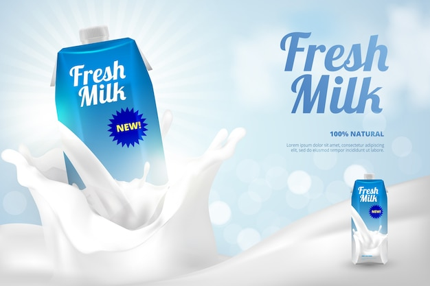 Fles verse melk ad Gratis Vector