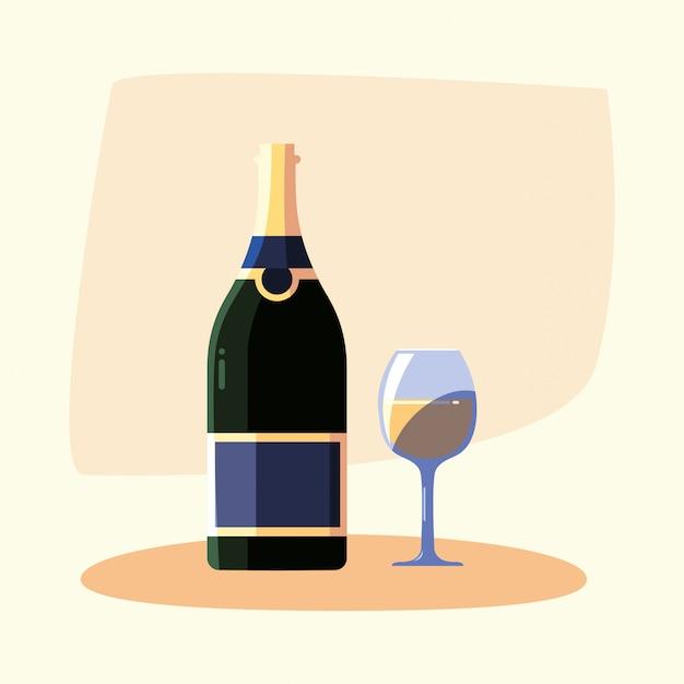 Fles wijn en beker Premium Vector