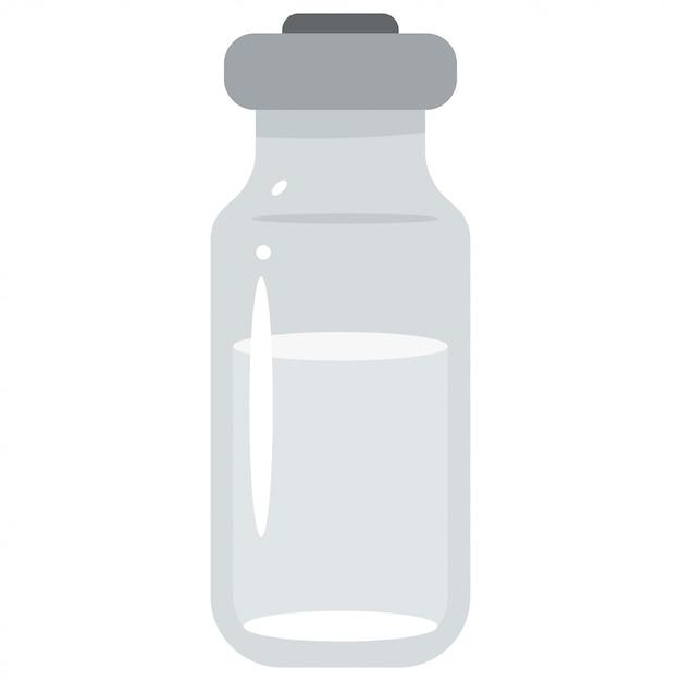 Flesje medisch glas dat op wit wordt geïsoleerd Premium Vector