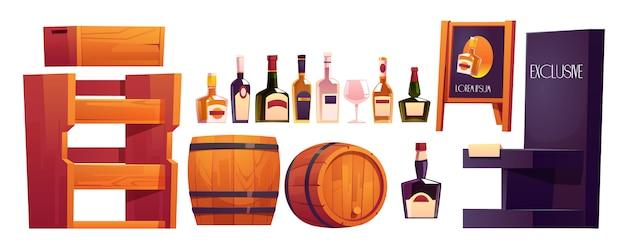 Flessen met alcohol, houten planken en vat Gratis Vector