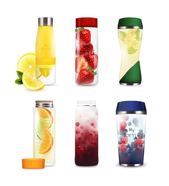 Flessen met detoxfruitdranken instellen Gratis Vector