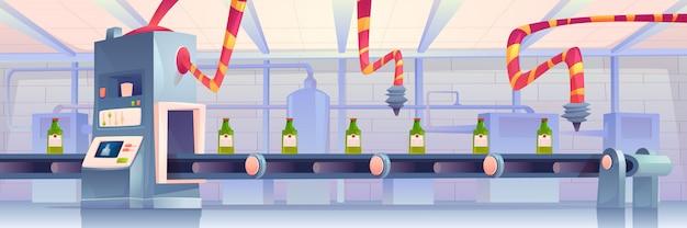 Flessen op transportband in fabriek. productie in glazen kolvenverpakking op transportlijn met robotarmen. automatiseringsproces, slimme industriële robotassistenten Gratis Vector