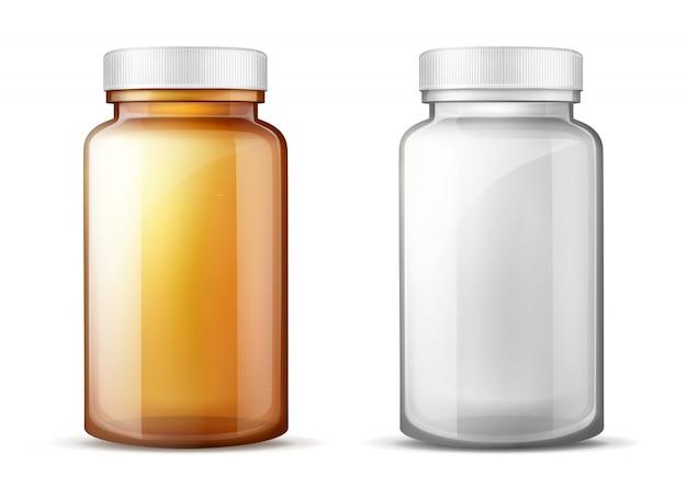 Flessen voor geneesmiddelen realistische vector set Gratis Vector