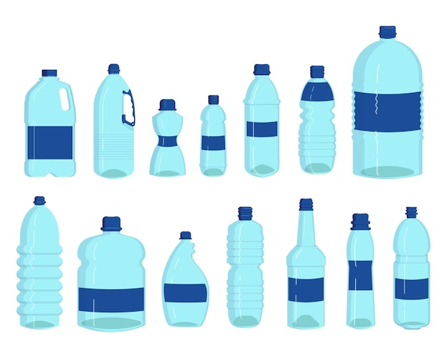 Flessen water set. plastic containers voor vloeibare, transparante drankflessen, liter die op wit wordt geïsoleerd. cartoon afbeelding Gratis Vector