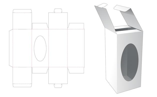 Flip-box met vergrendelde punt en gestanste sjabloon in venster Premium Vector