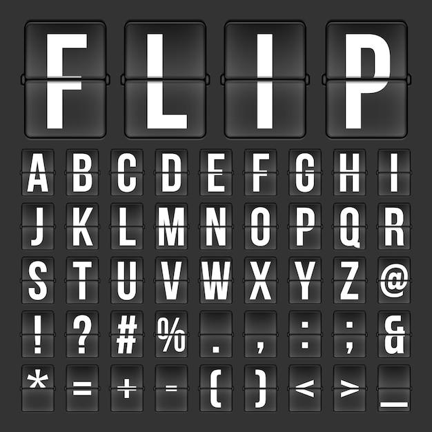 Flip countdown digitale kalenderkloknummers en -letters Premium Vector
