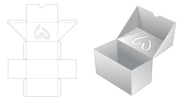 Flip doos met hartvormig venster bovenop gestanste flip-sjabloon Premium Vector
