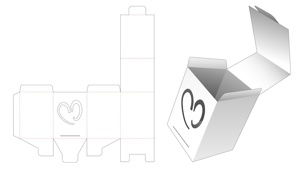 Flip verpakking met verborgen hartvormig venster gestanst sjabloon Premium Vector