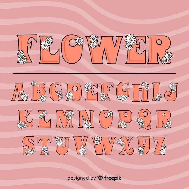 Floral 60's stijl alfabet Gratis Vector