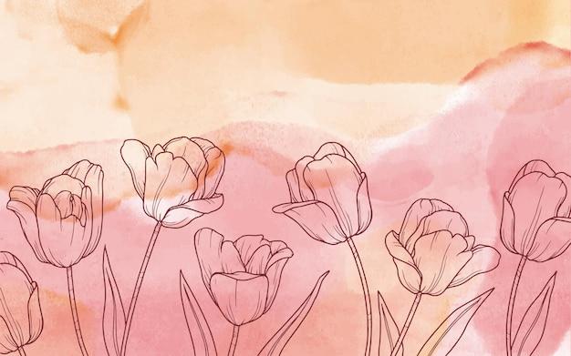 Floral achtergrond in aquarel Gratis Vector