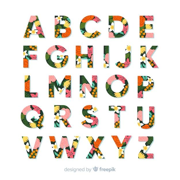 Floral alfabet Gratis Vector