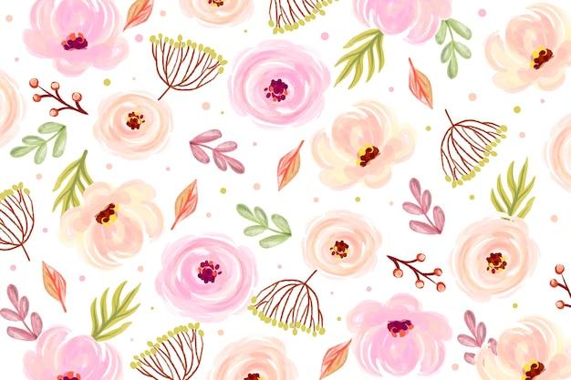 Floral aquarel achtergrond met zachte kleuren Gratis Vector