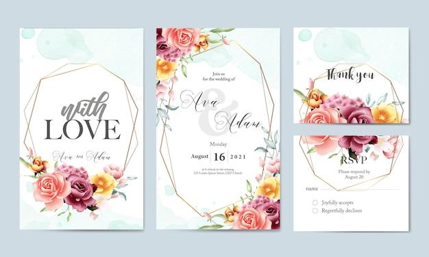 Floral aquarel bruiloft uitnodiging sjabloon set Premium Vector