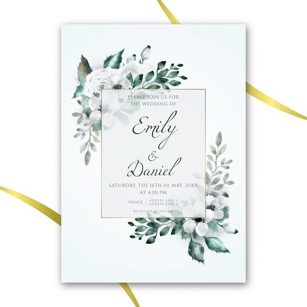 Floral aquarel bruiloft uitnodiging Premium Vector