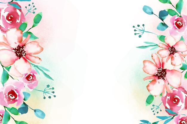 Floral aquarel stijl achtergrond Gratis Vector