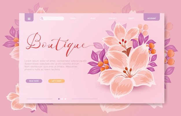 Floral branding website sjabloon Premium Vector