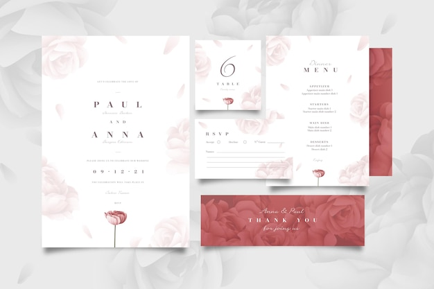 Floral bruiloft briefpapier pack Gratis Vector