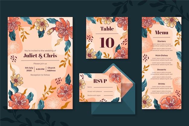 Floral bruiloft briefpapier set Gratis Vector